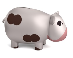 realistic 3d render of piggy bank - cow