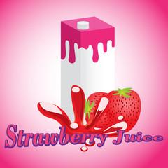 Strawberry Juice cartons with screw cap