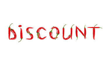 Picture of the words DISCOUNT written with red chili peppers