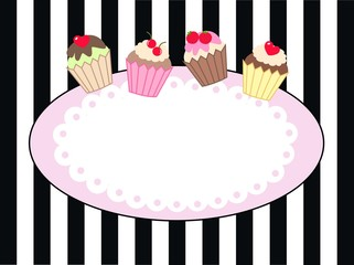 cupcake frame card label greeting header