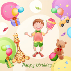 Happy birthday illustration with happy boy holding a gift box.