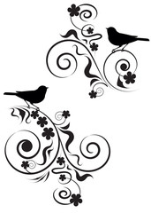 elegant abstract pattern of flowers and birds