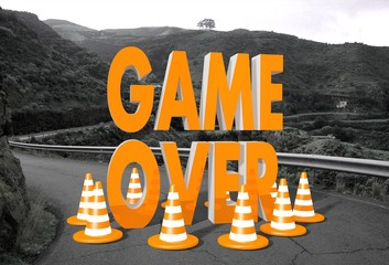 game over sign on a road