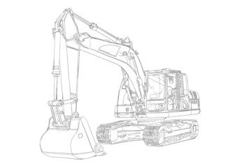 Excavator illustration isolated art drawing