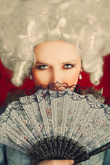 Beautiful Baroque Woman Portrait with Wig and Fan