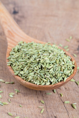 fennel seed in a wooden spoon on table
