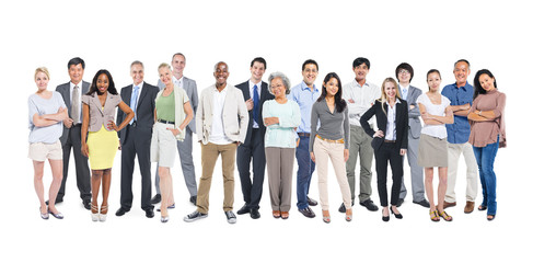 Fototapeta Group Of Multi-Ethnic And Diverse Occupational People In A White
