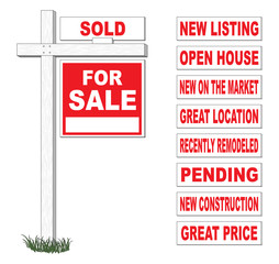 For Sale Sign With Interchangeable Riders