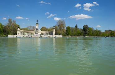 Lake in the Retiro Park in Madrid in spring