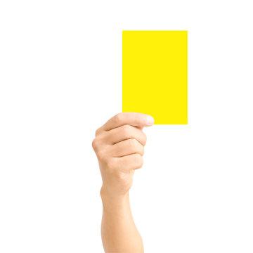 man hand holding yellow card