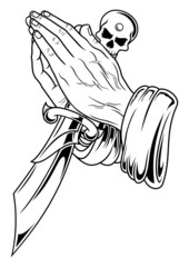 prayer hand with dagger