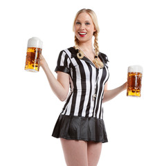 beautiful and sexy woman drinking beer with sports