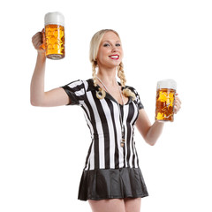 beautiful and sexy woman in soccer referee clothes