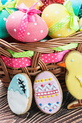 cookies and colored eggs for Easter Day