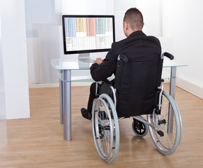 Businessman On Wheelchair Using Computer