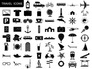 Black travel icons vector set