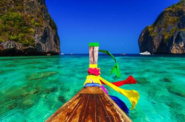 Traditional longtail boat in Maya bay on Koh Phi Phi Leh Island,