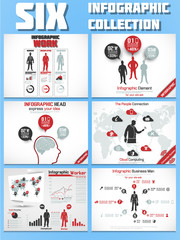 SIX INFOGRAPHIC COLLECTION RED
