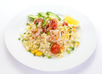 asian food shrimp fried rice and vegetables