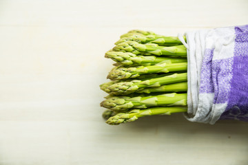 Asparagus packed in natural fabric