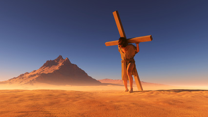Jesus in the desert.