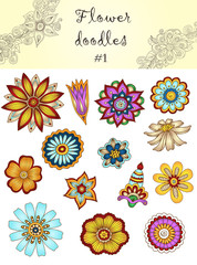 Set of doodle flowers #1.  Ornamental Flowers.