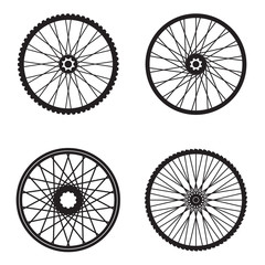 Bicycle wheels isolated on white background, vector format