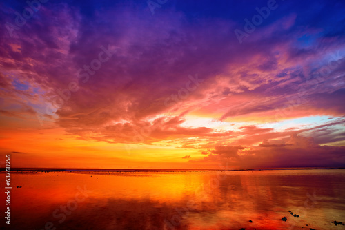 Sunset over Bali as seen from Gili island, Indonesia