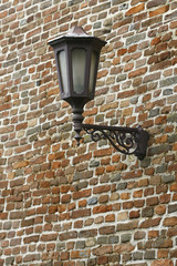 Old street Lamp on the brick Wall