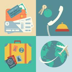 Vacation travel icons set
