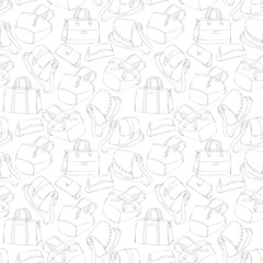 Seamless woman's stylish bags sketch