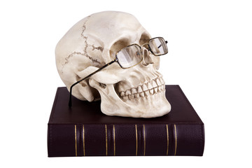 Skull in glasses on book