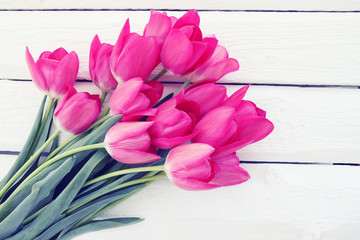 Big bouquet of pink tulips