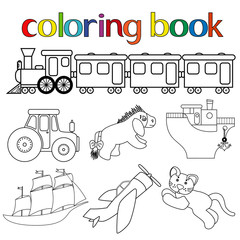 Set of different toys for coloring book