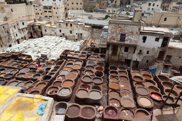 Leather tanning and dyeing Shuar. Thes. Morocco.