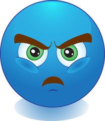 Синий смайлик злится