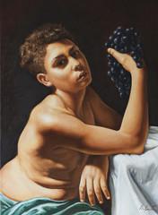 dipinto di un giovane con un grappolo di uva in mano