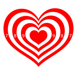 target in the form of red hearts