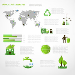 Ecology info graphics collection graphic vector