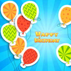Happy birthday colorful applique background