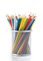 colorful pencils in container isolated