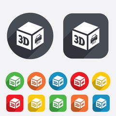 3D Print sign icon. 3d cube Printing symbol.