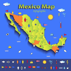 Mexico map infographic political map individual states paper 3D