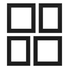 four black frames isolated on white background