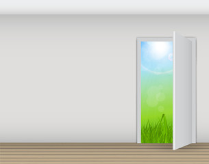 Open white door on a white wall with nature vector illustration