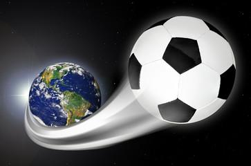 Soccer Ball Streaking Across Planet Earth