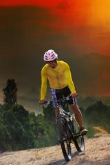 Poster Cycling young man riding mountain bike bicycle crossing mountain hill ju