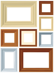 Vector set of retro wood frames with copy space