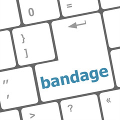 bandage word on keyboard key, notebook computer