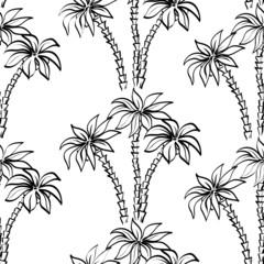 Seamless pattern, palm trees contours